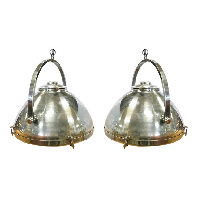 Pair of Industrial Mid Century Hanging Pendant Light Fixtures Lighting For Sale