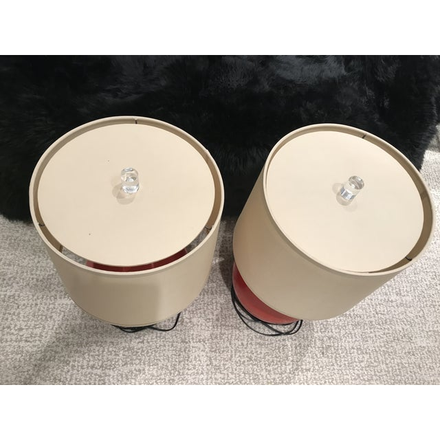 2010s Baker Furniture Red Ball Circular Lamps - A Pair For Sale - Image 5 of 10