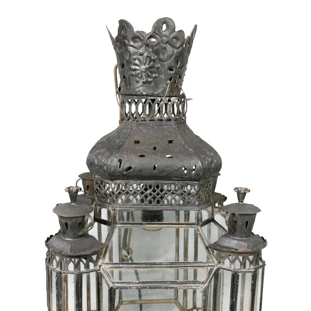 Arts & Crafts Moroccan Black Painted Tole Hall Lantern For Sale - Image 3 of 11