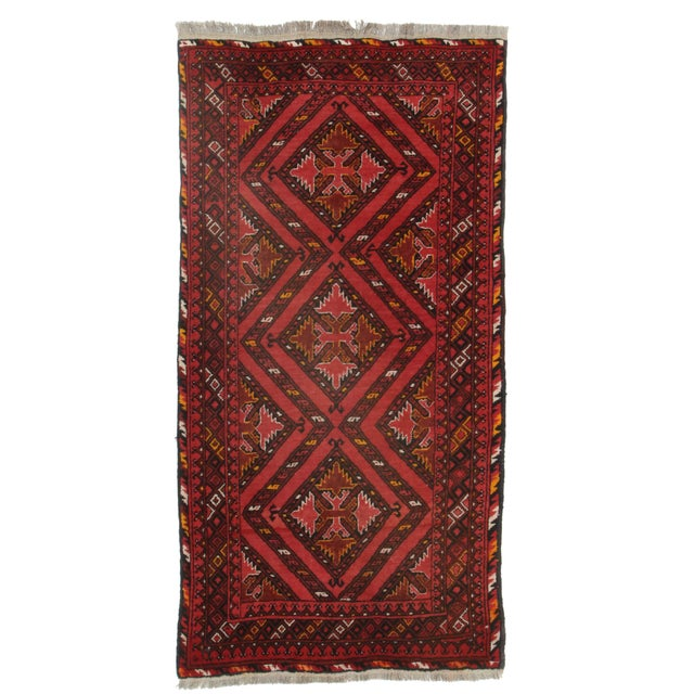 Hand Knotted Afghan Turkman Rug - 4′1″ × 6′5″ For Sale
