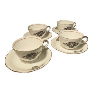 1920s F.C. Co. French China Martha Washington Dove Teacups & Saucers - Set of 4 For Sale