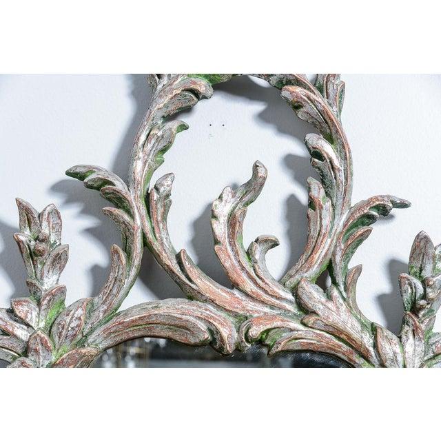 Hollywood Regency Italian Florentine Silver Gilt Wood Mirror For Sale - Image 10 of 13