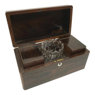Antique English Rosewood Tea Caddy For Sale