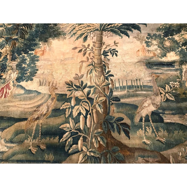 Large 18th Century French Aubusson Tapestry with Trees Birds and People - Image 8 of 11