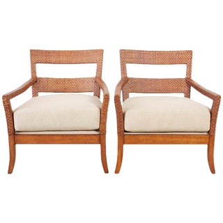 Pair of Billy Baldwin Style Rattan Wrapped Lounge Chairs For Sale