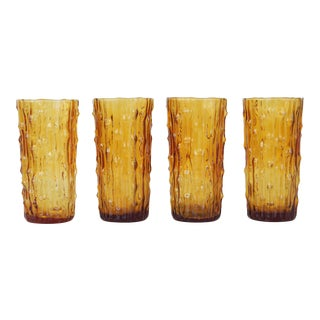 Vintage Italian Tall Amber Drinking Glasses - Set of 4 For Sale