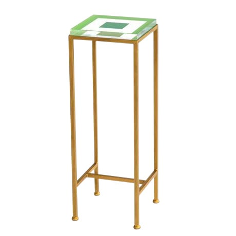 Contemporary Ellsworth Acrylic Drinks Table – Base: Gold, Top: Squares Lime/Kelly For Sale