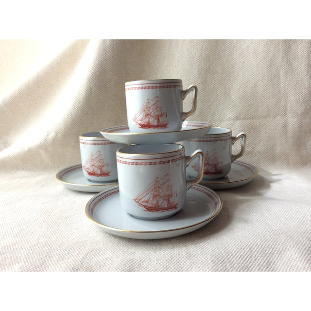 1980s Spode TradeWinds Pattern Coffee Cups, Saucers and Plates - Set of 12 For Sale - Image 5 of 11