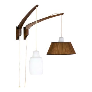 Pair Scandinavian Modern Teak & Glass Swing Arm Wall Lights After Uno & Östen Kristiansson For Sale
