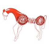 Image of Mid-Century Modern Red Wire Horse Sculpture