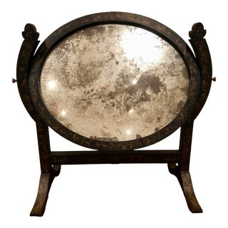 Niermann Weeks Vanity Shaving Mirror With Antique Glass & Wood Pivot Frame For Sale