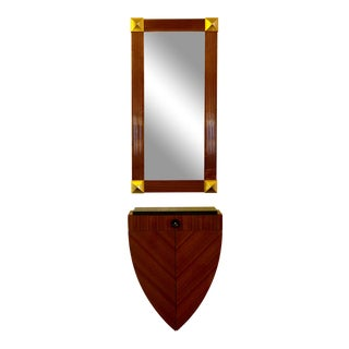 Lee Weitzman Wall-Mounted Shield Console & Cleopatra Mirror For Sale