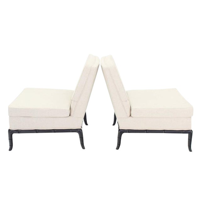 Pair of Horn Shape Faux Bamboo Legs Slipper Chair New Upholstery For Sale