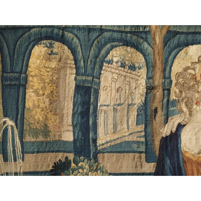 Green 17th Century Park Scene Tapestry From France For Sale - Image 8 of 13