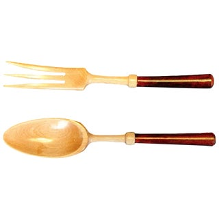 Wooden Salad Fork & Spoon - A Pair For Sale