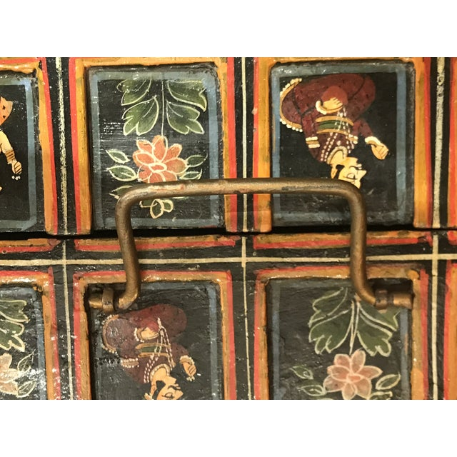 Gold Vintage Folk Art Indian Hand Painted Box For Sale - Image 8 of 10