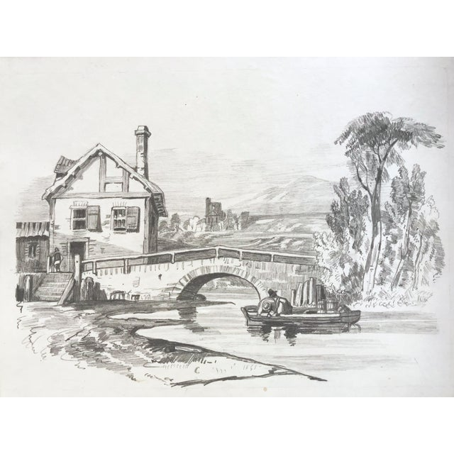 19th Century French Country Landscape Drawing 1847 For Sale - Image 4 of 7