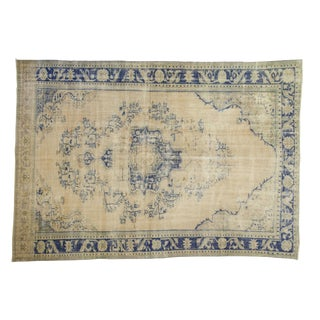 "Vintage Distressed Oushak Carpet - 8' X 11'3"" For Sale"