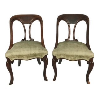 Early 20th Century Victorian Mahogany Chairs - A Pair For Sale