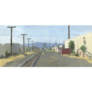 Railroad Tracks, Medford, OR: Original Framed Oil Painting Plein Air Landscape For Sale