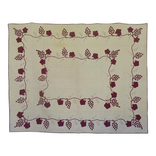 "1930's Vintage Applique Grapevine ""Cabernet"" Quilt For Sale"