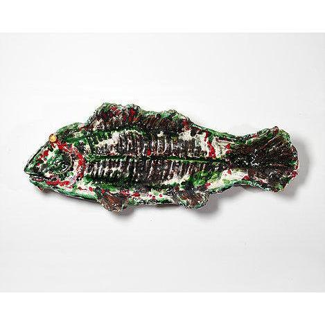 """Large unusual glazed faience fish French, circa 1950s Width 85cms, 33.5"""" Height at widest point 34cms, 13.5 """""""