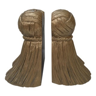 Vintage Gold Tassel Bookends - A Pair