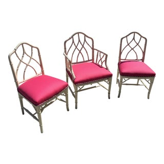 Currey & Co. Asian Modern Chippendale Style Bamboo Dining Chair Set of 3 For Sale
