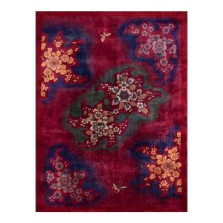 1930s Antique Chinese Art Deco Rug-10′ × 13′6″ For Sale