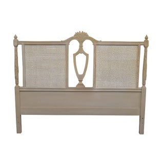 French Country White Painted Caned Queen Headboard For Sale