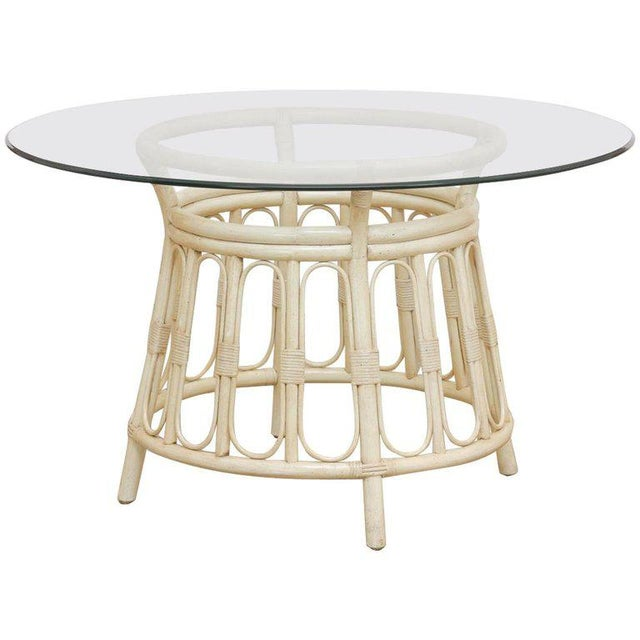Bamboo Rattan Lacquered Round Dining Table by Brown Jordan For Sale - Image 13 of 13