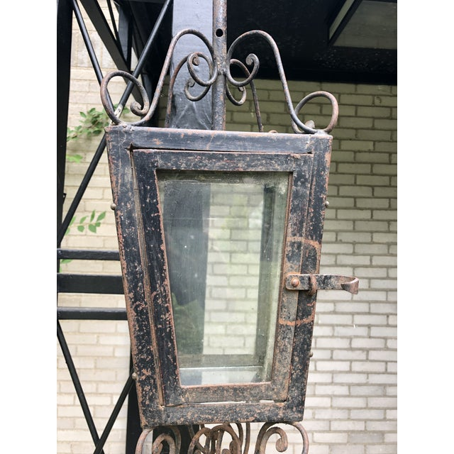Rustic European 19th Century Rustic Hand Forged Wrought Iron Outdoor Candle Lantern For Sale - Image 3 of 13