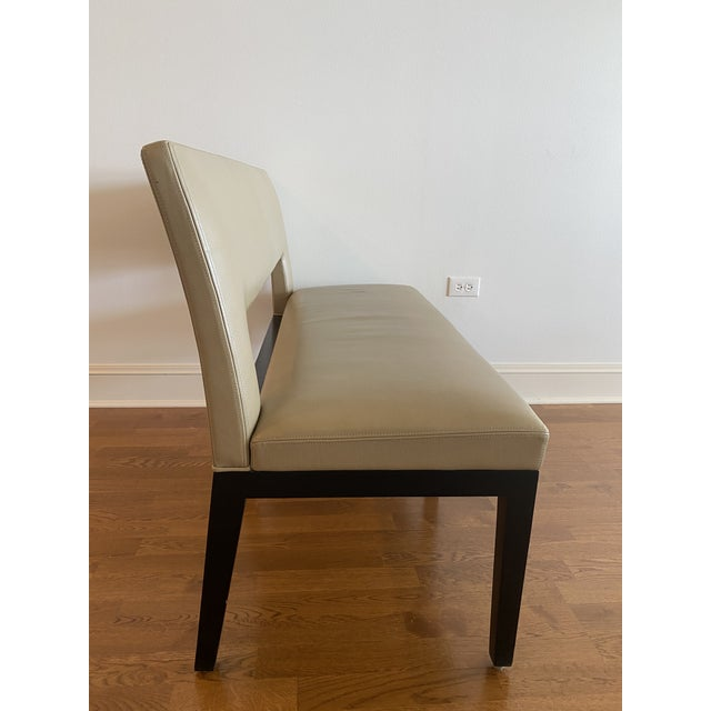 Modern Holly Hunt Christian Liaigre Leather Velin Banquette Bench For Sale - Image 3 of 11