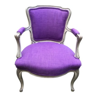 Early 20th Century Vintage French Louis XV Fauteuil Bergere Chair For Sale