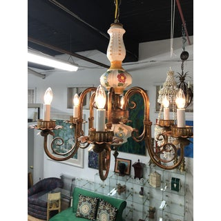 Vintage Italian Hand Painted 6 Arm Gilt Metal Chandelier Preview