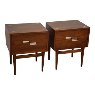 American of Martinsville Walnut Nightstands- a Pair For Sale