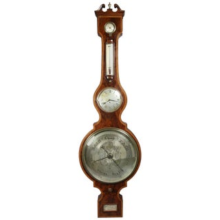 Regency Mahogany and Inlaid Barometer or Clock by P. Taroni, Jersey For Sale