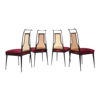 Arturo Pani Red Velvet Dining Chairs - Set of 4 For Sale