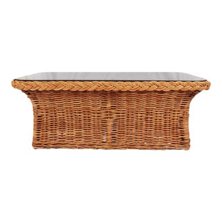 Vintage Woven & Braided Rattan Coffee Table With Smokey Glass Top For Sale