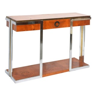 American Modern Burled Walnut, Chrome and Brass Console by Pierre Cardin