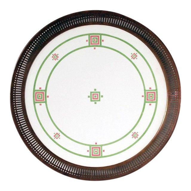 Antique Art Deco Porcelain & Copper Tray For Sale