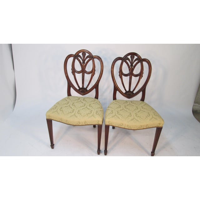 George Hepplewhite 1940s Vintage Custom Made Mahogany Chairs- Set of 6 For Sale - Image 4 of 10