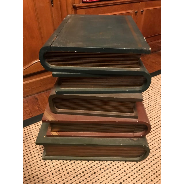 1970s 1970s Figurative Wood Faux Book-Stack End Table For Sale - Image 5 of 5