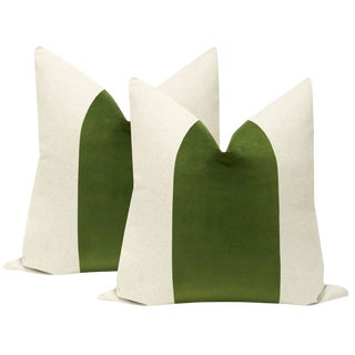 "22"" Peridot Velvet & Linen Pillows - a Pair For Sale"