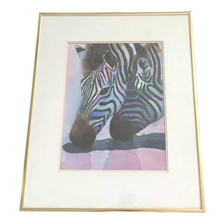Two Zebras Watercolor and Acrylic Painting - Framed Original
