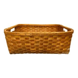 19th Century American Large Rectangle Splint Basket For Sale