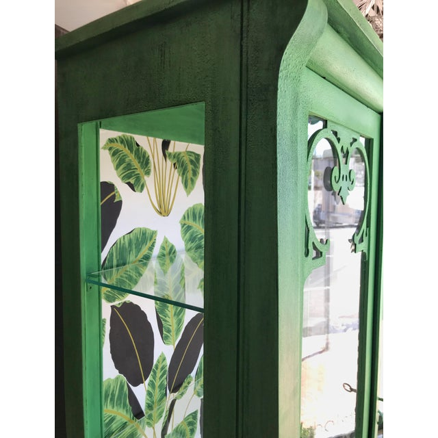 Boho Chic Cutom Painted Green Display Cabinet For Sale - Image 3 of 4