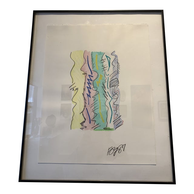 1980s Postmodern Mixed Media Drawing For Sale