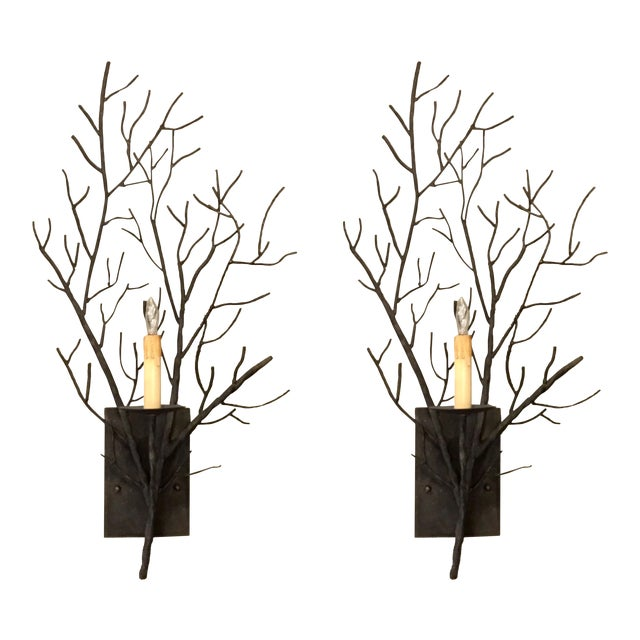 Currey & Co. Organic Modern Iron Branch Wall Sconces Pair For Sale