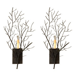 Organic Modern Iron Branch Wall Sconces Pair For Sale